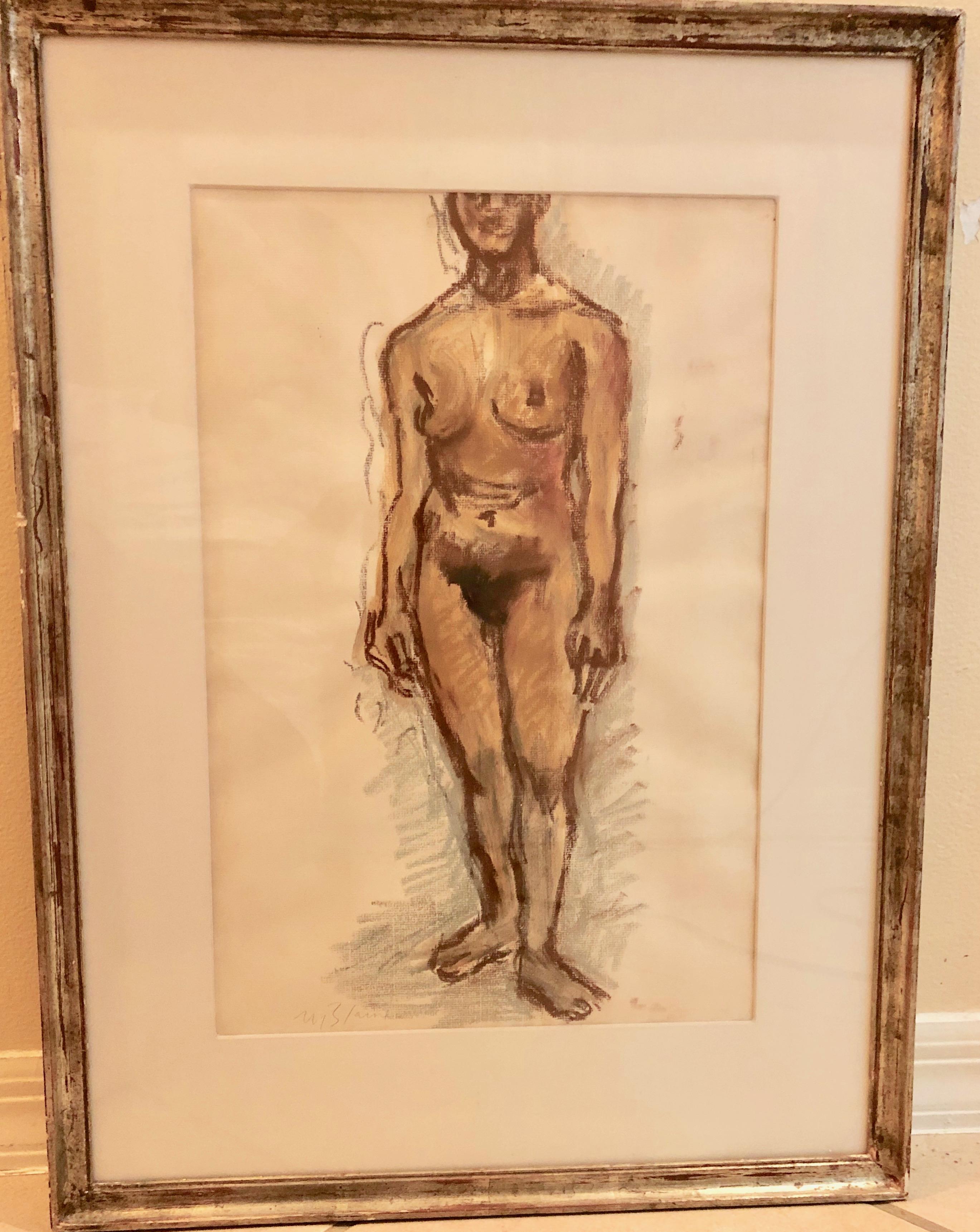 "Nell Blair Walden Blaine ""Standing Figure"" Pastel Drawing, circa 1967"