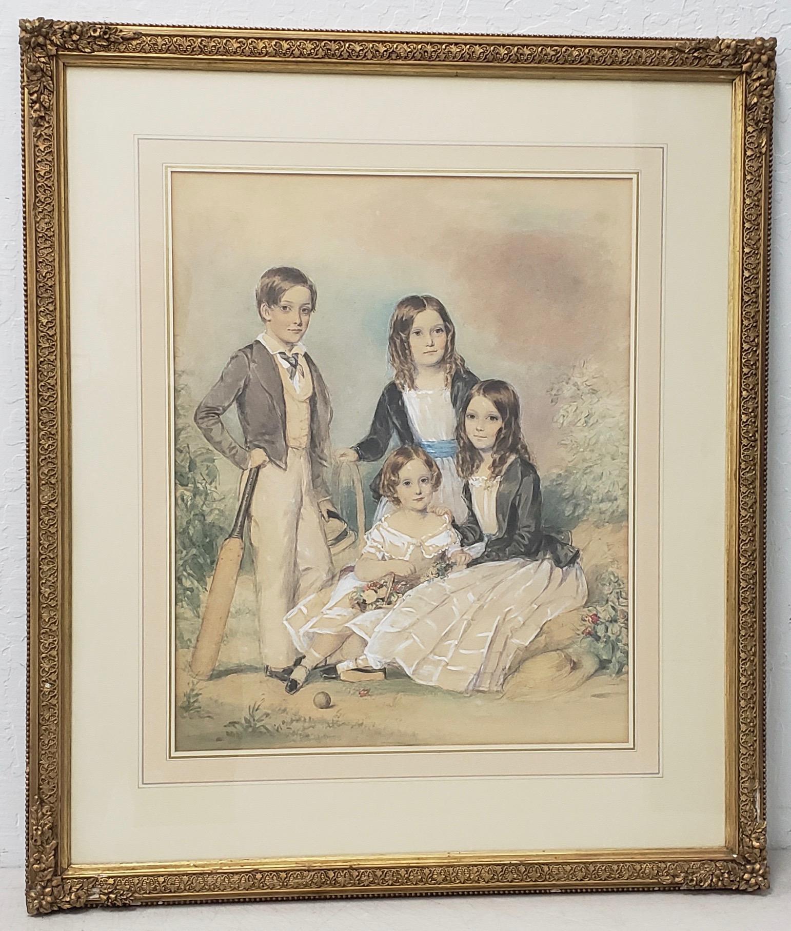 "John Collingham Moore ""Children of Henry and Elizabeth Young"" Watercolor c.1860"