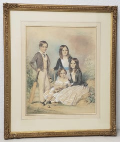 "John Collingham Moore ""Children of Henry and Elizabeth Young"" Watercolor c.1860"