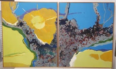 Dorothy Finley Mid 20th Century Abstract Diptych Paintings c.1970