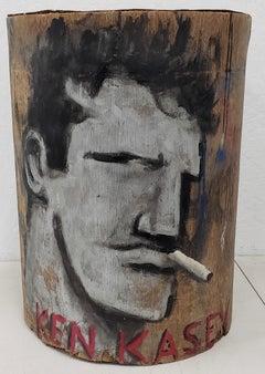 "Robert Loughlin ""Ken Kasey, I Mean Ken Kesey!"" Original Painting on Bark 21st c."