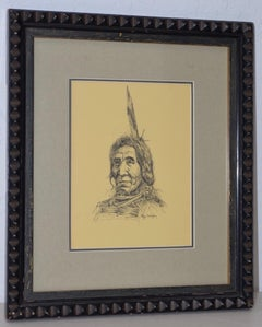 "Ray Swanson (1937-2004) ""Native American"" Original Pen & Ink c.1960s"