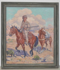 "Roscoe Litchfield (1888-1971) ""Davy Crockett Out West"" Oil Painting c.1940"