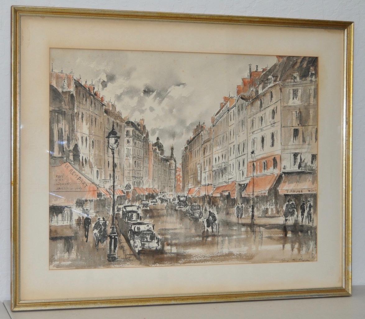 "Guy de Neyrac ""Parisian Street Scene"" Original Watercolor c.1950s"