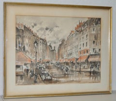 "Guy de Neyrac ""Parisian Street Scene"" Original Watercolor c.1950s"
