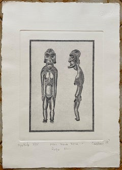 "Easter Island ""Moai Kavakava"" Etching by Rapa Nui Artist R. Candiani"