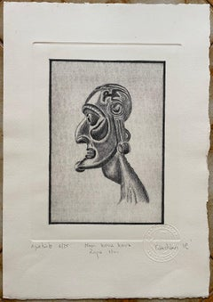 "Easter Island ""Moai Kavakava"" Profile Etching by Rapa Nui Artist R. Candiani"