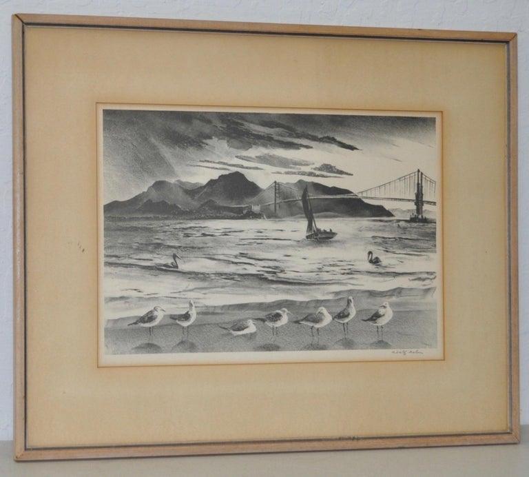 """Adolph Arthur Dehn Print - Adolph Dehn """"Golden Gate"""" Lithograph c.1940"""