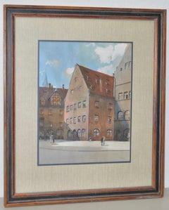"""Franz Schmidt (1884-1951) """"Nuremberg, Germany"""" Original Gouache on Paper c.1930s"""