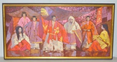 "Lowell Hecking (1908-1994) ""Kabuki Theater"" Original Oil on Canvas c.1970s"