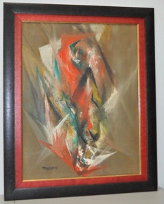 "Harriet Thorpe ""Fire Bird"" Original Abstract Oil Painting c.1960s"