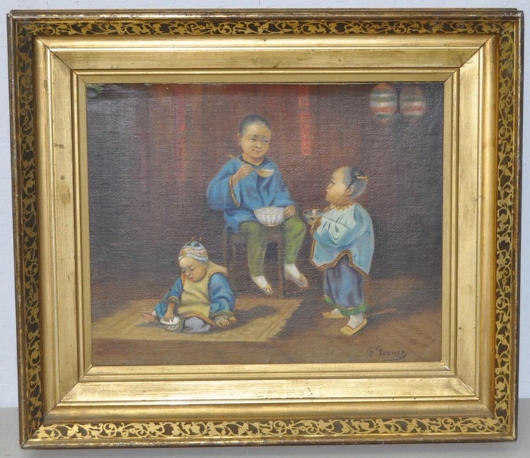 """Frederick Bauer """"Chinese Children"""" Original Oil Painting c.1890s - Brown Figurative Painting by Frederick Bauer"""