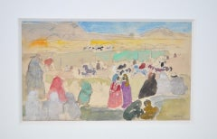 Charles-George Dufresne (French, 1876-1938) Original Watercolor w/ Figures c.192