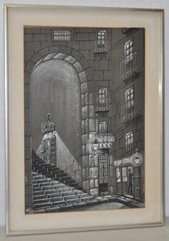 """Martin Hidalgo """"Las Cuevas de Luis Candelas"""" Vintage Illustration c.1974"""