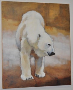 "Arctic Polar Bear ""Shizou"" Original Oil Painting by Ute Simon c.2003"