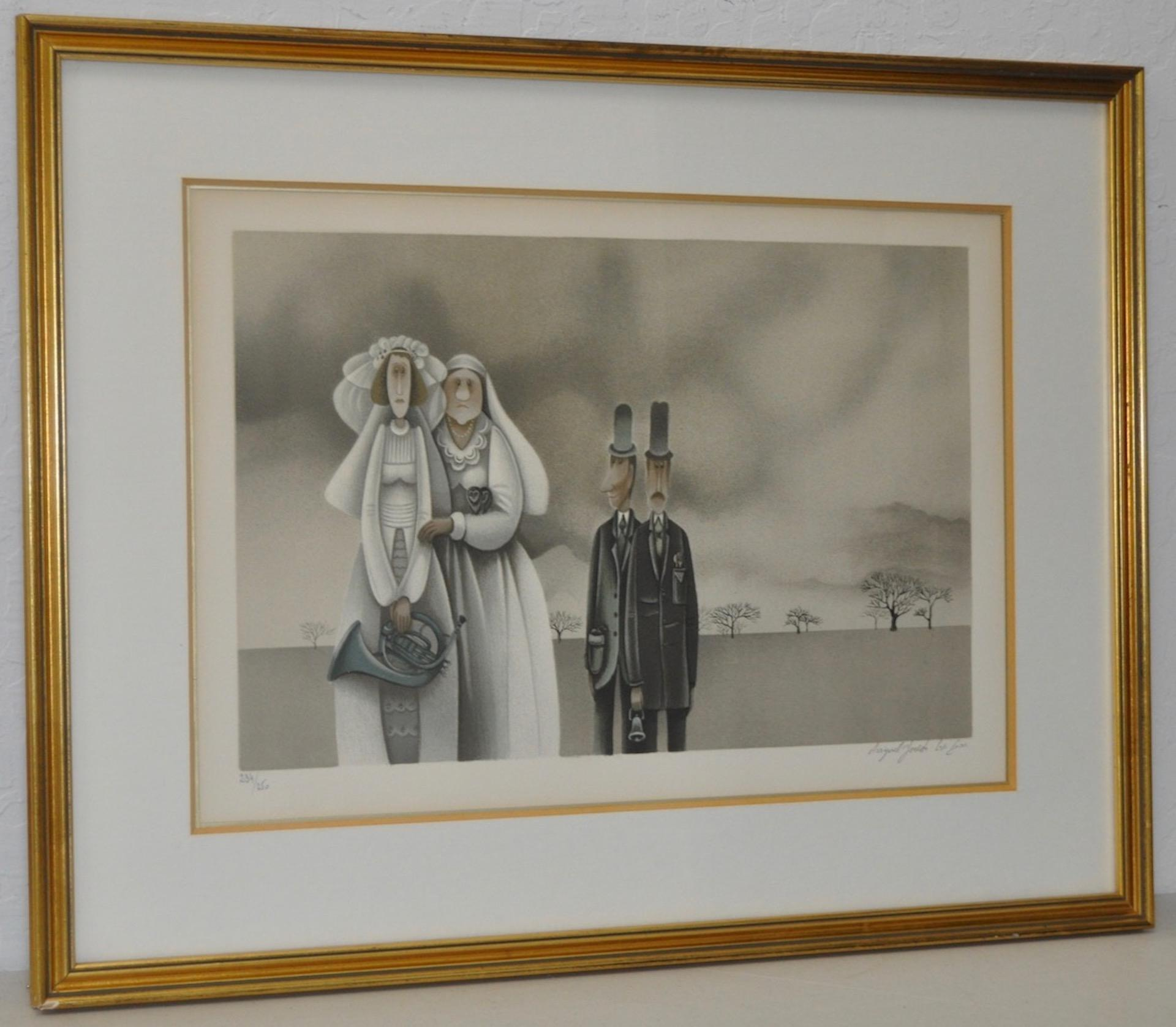 """Avigail Yoresh """"Blowing the Horn"""" Pencil Signed Lithograph c.1992"""