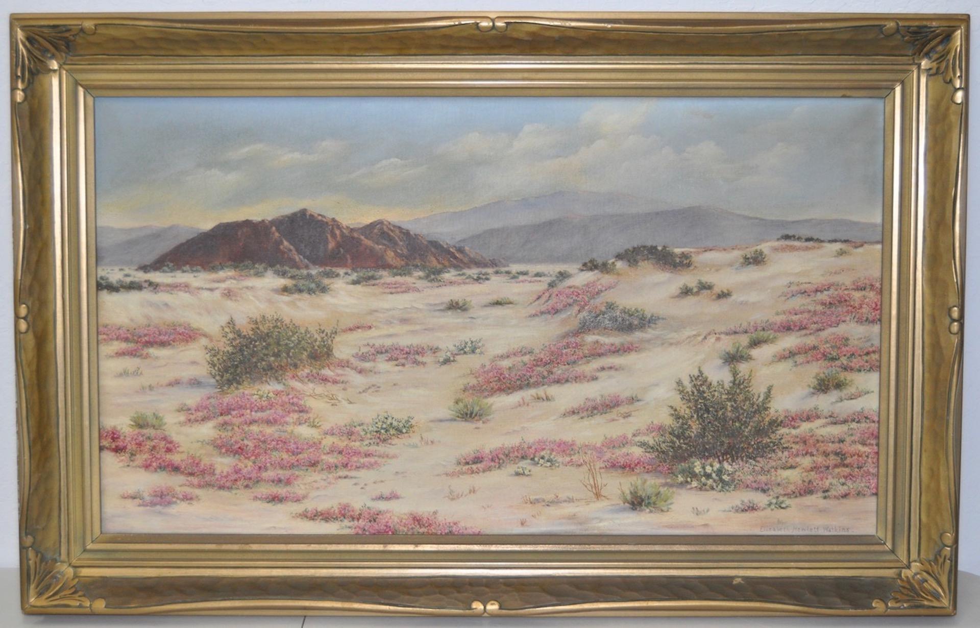 California Desert Landscape w/ Sand Verbena by Elizabeth Hewlett Watkins c.1940s
