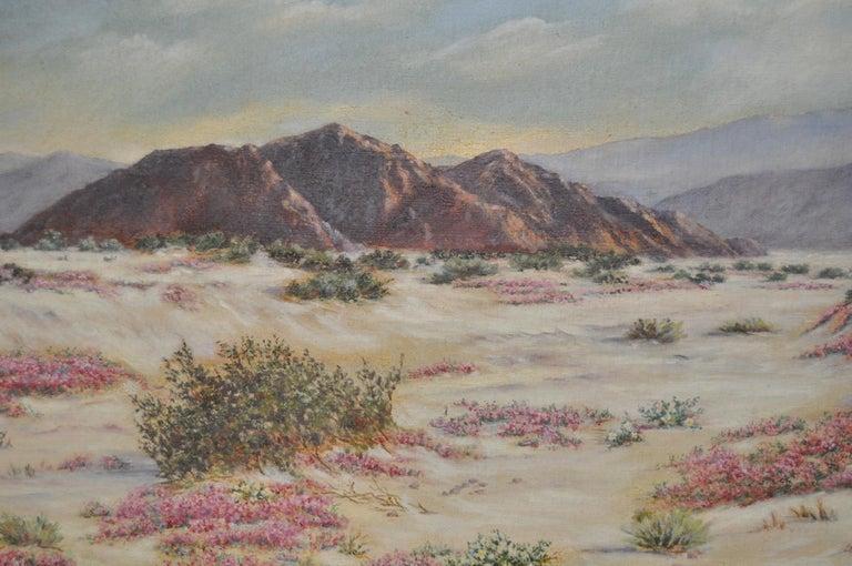 California Desert Landscape w/ Sand Verbena by Elizabeth Hewlett Watkins c.1940s For Sale 3