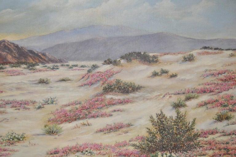 California Desert Landscape w/ Sand Verbena by Elizabeth Hewlett Watkins c.1940s For Sale 4
