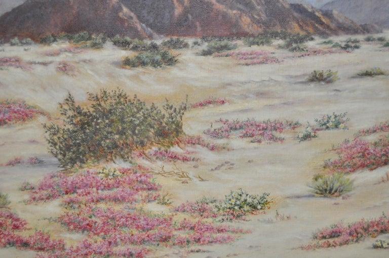 California Desert Landscape w/ Sand Verbena by Elizabeth Hewlett Watkins c.1940s For Sale 5