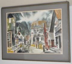"Jack Laycox Original Watercolor ""Swiss Village"" c.1965"