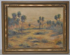 Desert Landscape Oil Painting w/ Palm Tree's by G. Held