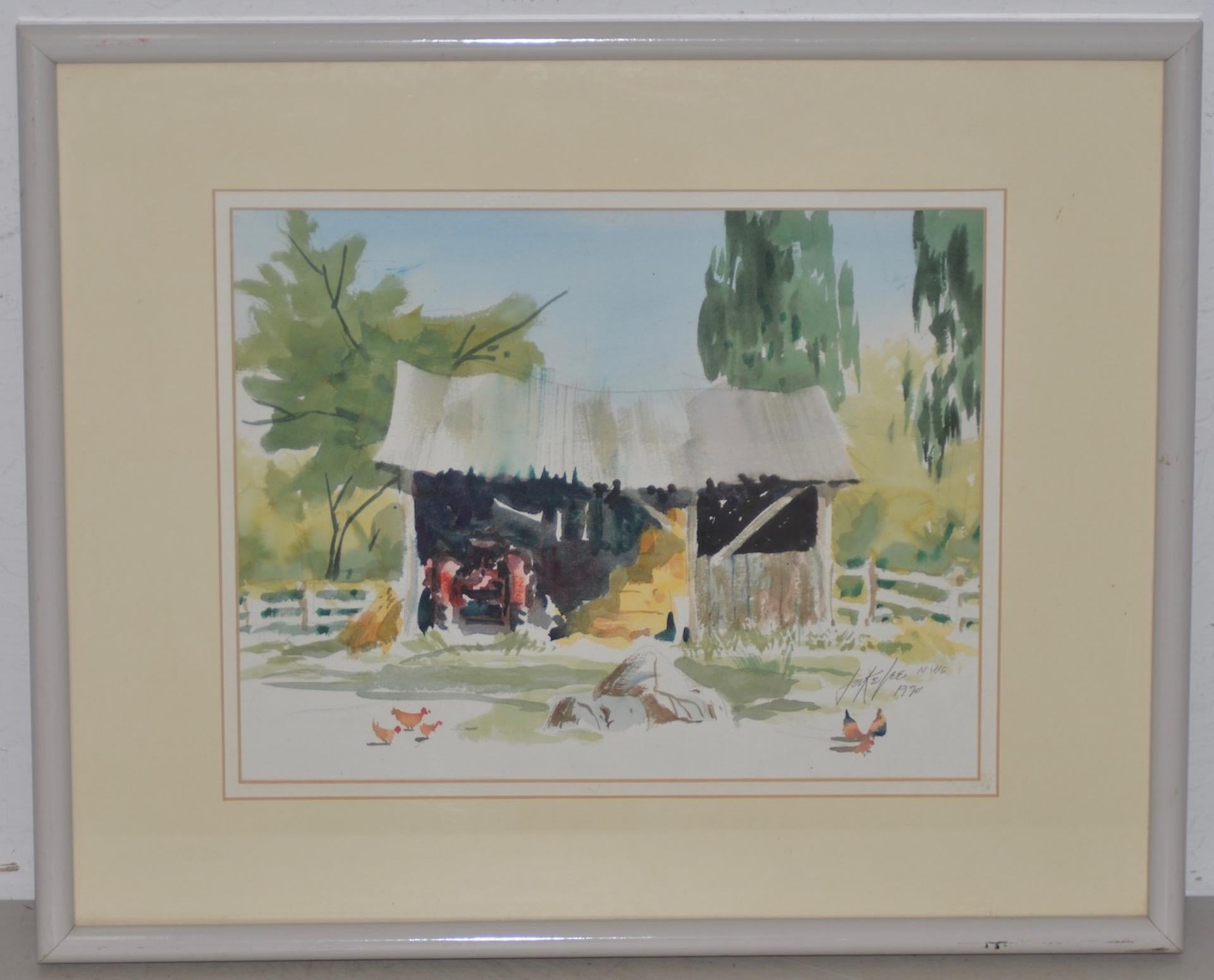 "Jake Lee ""Tractor in the Barn"" Original Watercolor Painting c.1990"