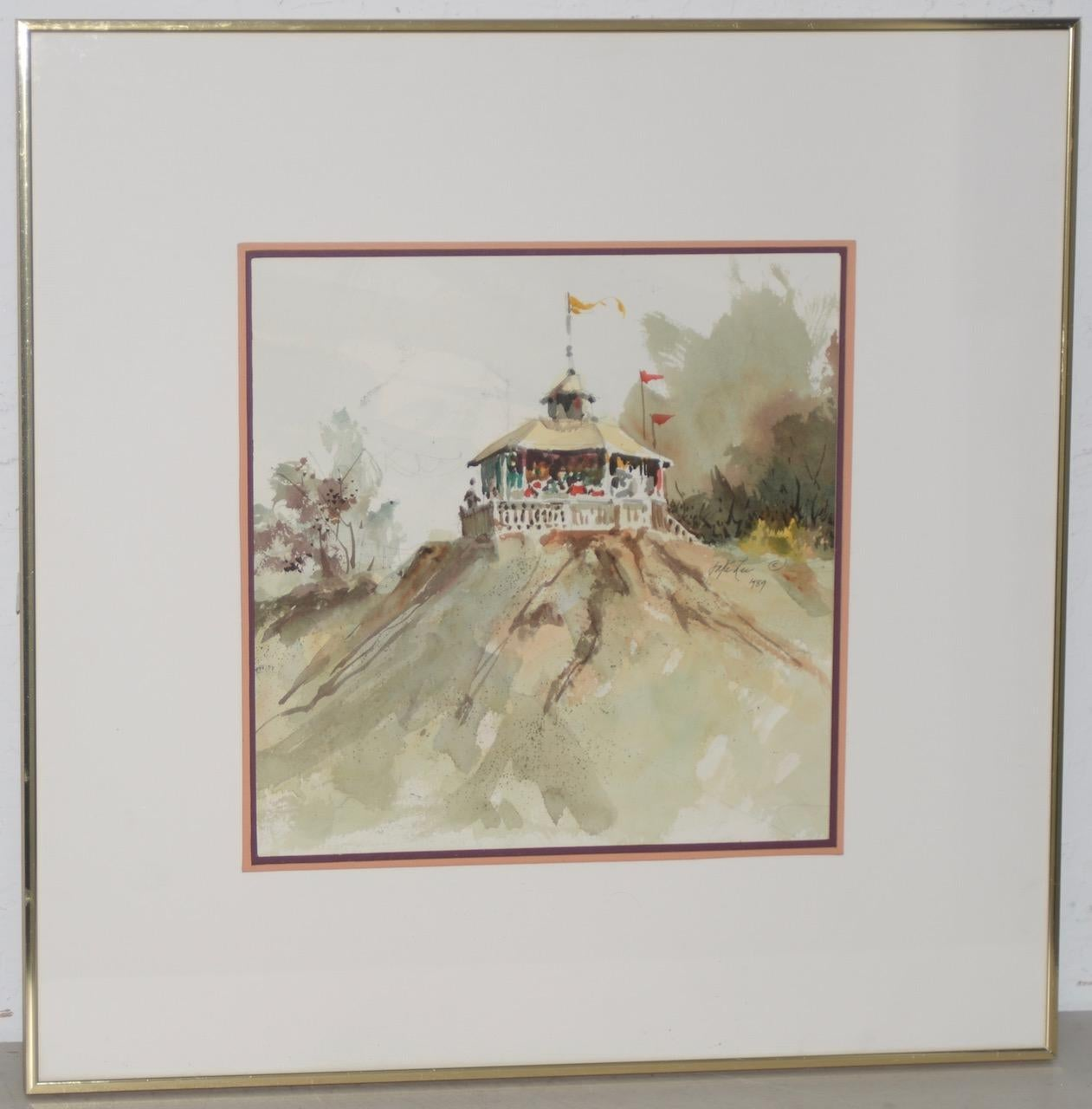 """Jake Lee (1915-1991) Original Watercolor """"Bandstand on the Bluff"""" c.1989"""
