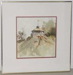 "Jake Lee (1915-1991) Original Watercolor ""Bandstand on the Bluff"" c.1989"