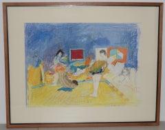 "Donald Borthwick ""Nude In Room With Red Window"" Mixed-Media Original c.1964"
