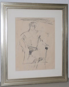 Larry Rivers Modernist Male Figure Original Charcoal Mid 20th C.