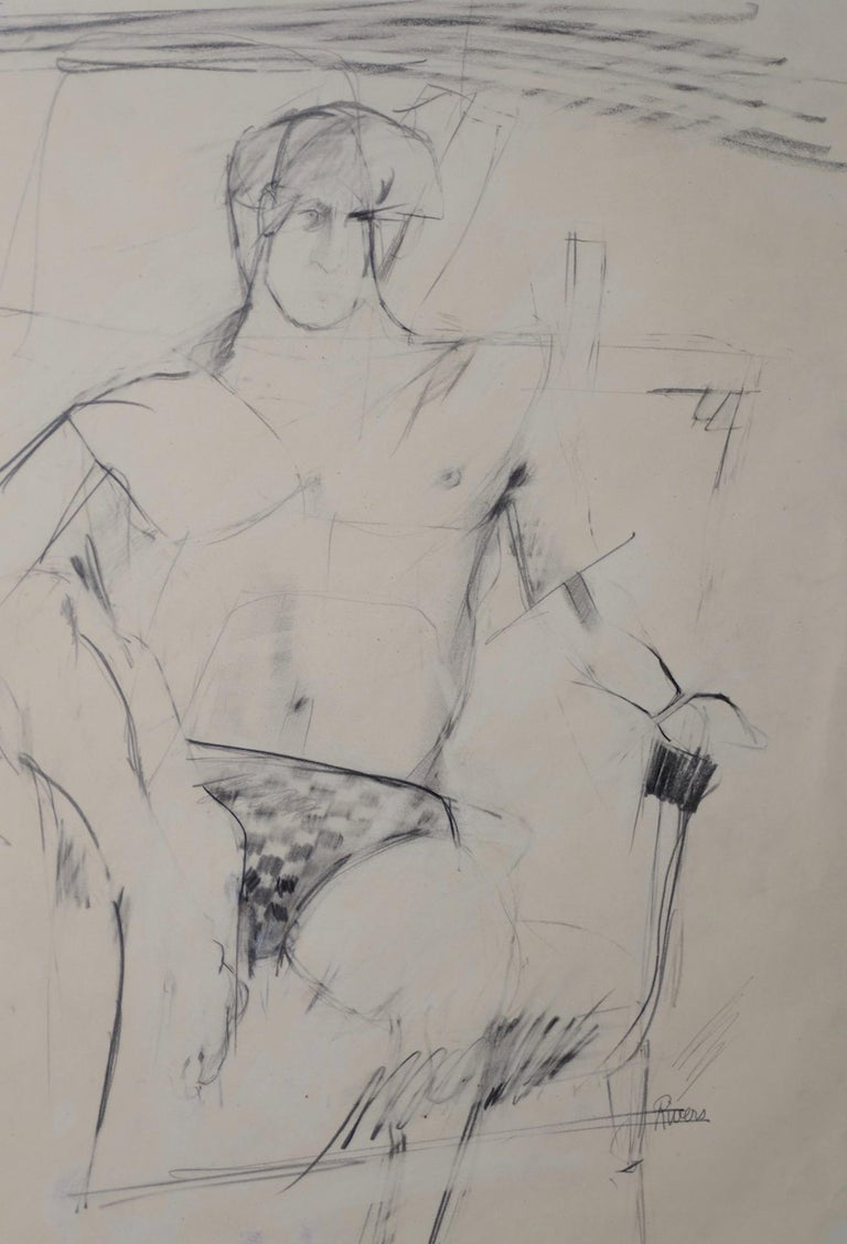 Larry Rivers Modernist Male Figure Original Charcoal Mid 20th C. - Impressionist Art by Larry Rivers