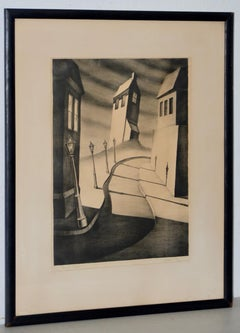 "Alfred Gray ""Silent Street"" Signed Lithograph c.1930s"