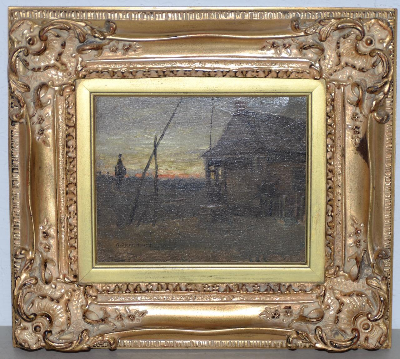 """George Glenn Newell """"View From Cabin"""" Original Oil Painting c.1900"""
