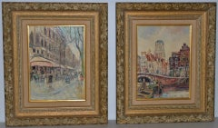 Piet van Beek Pair of European Street Scene Oil Paintings c.1950s