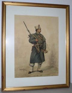 Watercolor Portrait of a Cossack Soldier by Jose Garcia Mesa, Paris 1888