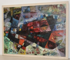 """Michael Kmit """"Abyss"""" Original Abstract Oil Painting c.1950s"""