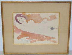 Figural Nude Watercolor by French Artist Alain Bonnefoit c.1969