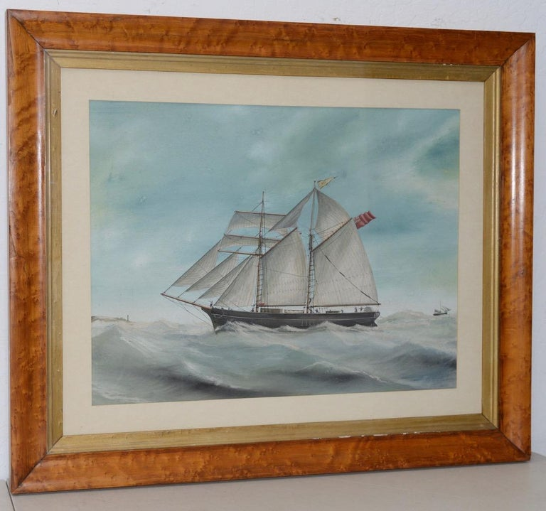 """Unknown Landscape Art - Original Watercolor of the British Ship """"Kate"""" Out at Sea c.1890s to 1910"""
