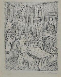 "Manuel Boccini (1890–1962) ""Dinner Ceremony"" Original Pen and Ink C.1922"