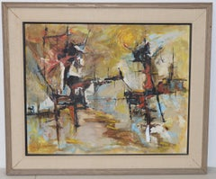 """Fred Kenknight """"Midday Sun"""" Abstract Oil Painting c.1963"""
