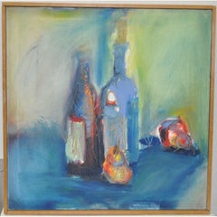 "Amy Burkhardt ""Blue Table Still Life"" Original Oil Painting c.1990"