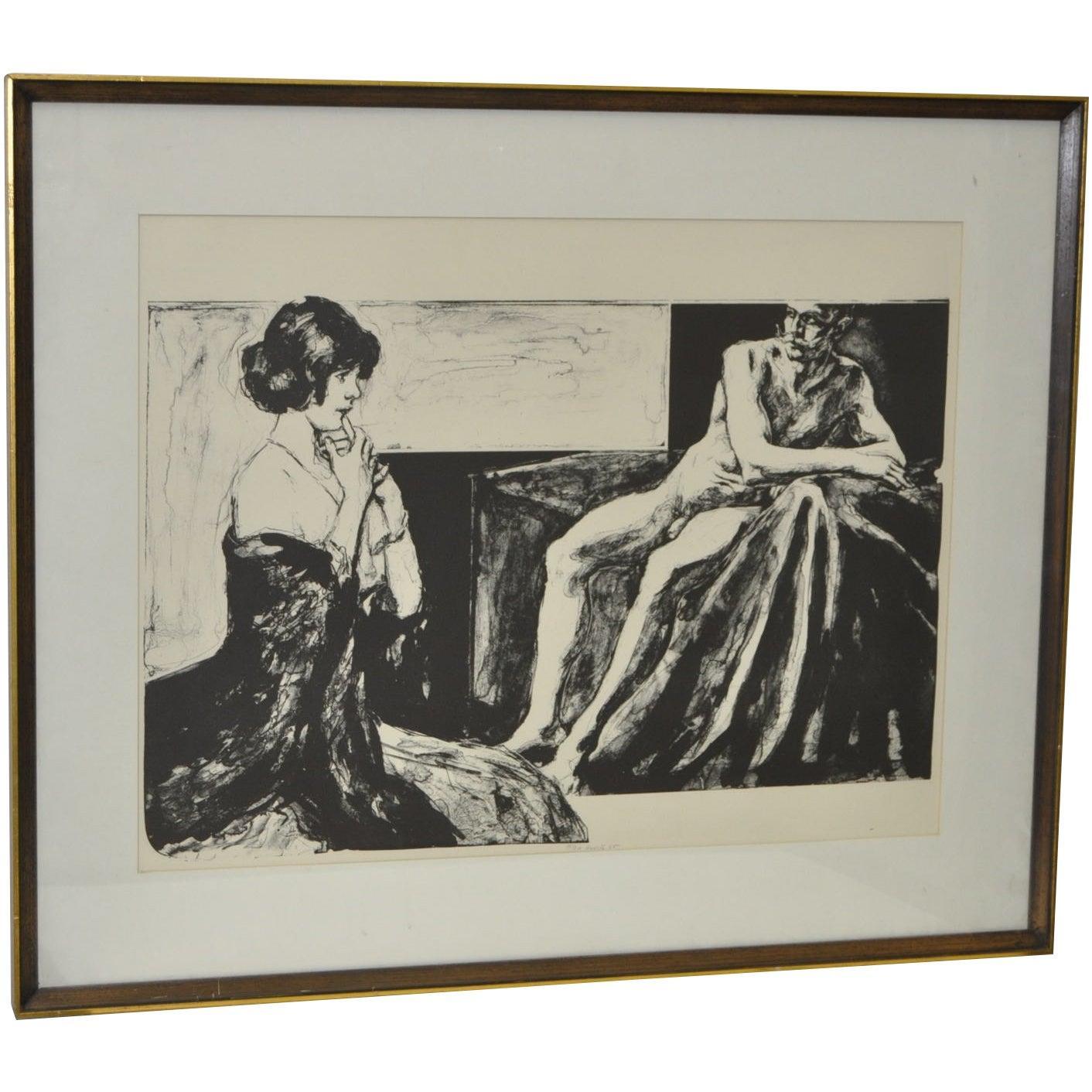 "Gerald Gooch (American, 20th c.) ""Bedside Manner"" Original Lithograph c.1963"