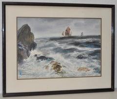"""Shen Shaolun """"Chinese Junk Ship"""" Original Watercolor c.1960"""