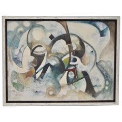 Vernon Wohnhas Mid Century Modern Abstract Acrylic Painting c.1960