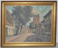 Frederik Svendsen (1885-1975) Danish Architecture Oil Painting c.1950s