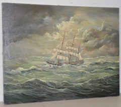 """Marcus Paulsen """"Norma on Stormy Seas"""" Original Oil Painting Early 20th c."""