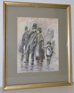 """Louis van der Pol """"Family in the Rain"""" Original Charcoal & Watercolor Painting"""