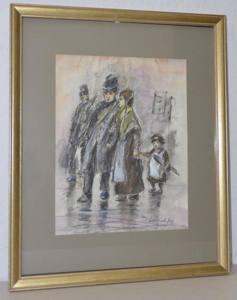 "Louis van der Pol ""Family in the Rain"" Original Charcoal & Watercolor Painting - Mixed Media Art by Louis Van Der Pol"