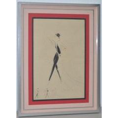 Vintage Art Deco Fashion Original Illustration by Charles Gesmar c.1920
